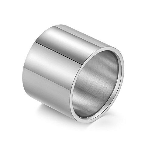 Beydodo Titanring Herren Silber Breit Rund Hochglanzpoliert Verlobungsringe Partnerringe Silber Größe 60 (19.1)