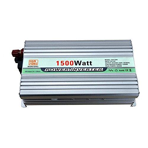 DWAN31 Auto Power Inverter Hohe Qualität 1000 Watt bis 220 V on-Board-Wechselrichter 1500 W DC 12V zu AC Steckdose 220V Converter Netzteil für Outdoor-Camping Kühlschrank Handy Laptop