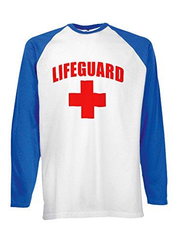 Life Guard Sexy Beach Funny Novelty Royal Blue/White Men Women Damen Herren Langarm Unisex Baseball T Shirt Verschiedene Farben-XXL