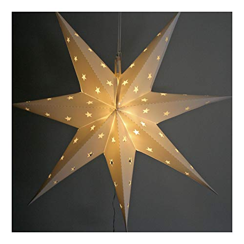 LED Stern Weihnachtsstern Adventsstern weiß 60 x 60 cm - Außenbereich Aussen groß (mit Timer-Funktion)