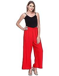 Mango People Products Women's Rayon Plazo (Black,Free Size Red)
