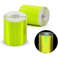 Paquete de 2 rollos de cinta adhesiva reflectante, de color amarillo fluorescente, ideal como cinta de seguridad, tamaño de 3 m x 50 mm, amarillo