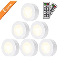 SAKING LED Under Cabinet Lighting, Wireless LED Puck Lights with Remote Control, Dimmable Closet Light, Battery Powered Under Counter Lights for Kitchen, Natural White 6 Pack