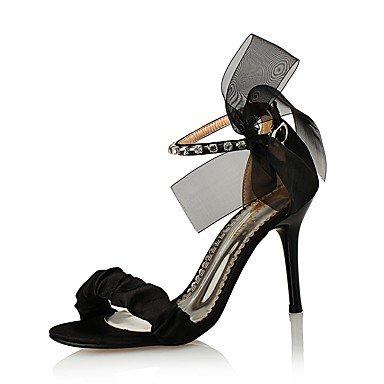 zhENfu Donna Sandali scarpe Club di seta sintetico Glitter Primavera Estate party di nozze & abito da sera in raso di strass Flower Stiletto HeelBlack Black