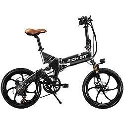 RICH BIT RT730 - Bicicleta eléctrica plegable de ciudad, unisex, 250W*48V*8*Ah, 20pulgadas, doble suspensión, 7marchas, desviador de Shimano, batería de LG, doble disco de freno de aleación de magnesio