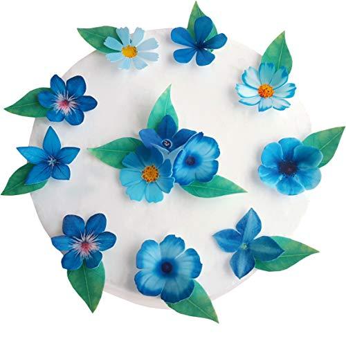 (. vorgeschnittenen Schöne blaue Blumen essbarem Reispapier/Oblatenpapier Pre Cupcake Kuchen Dessert Topper Geburtstag Party Hochzeit Baby Dusche Dekorationen Flowers & Leaves blau)