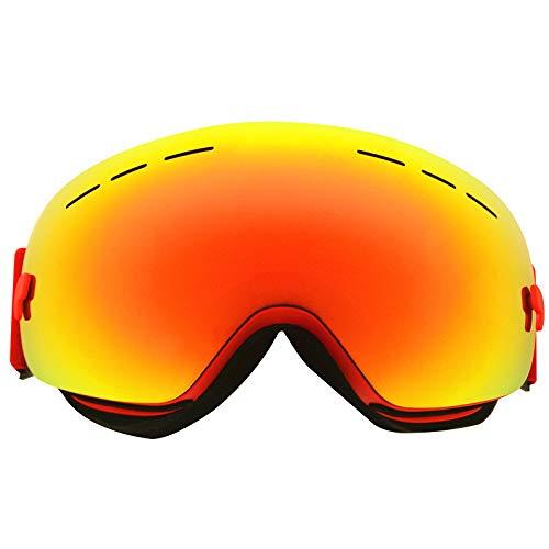 Easy Go Shopping Schneebrille Ski Anti-Fog und Sand-Proof große sphärische Gläser für Männer, Frauen Jugend - 100% UV-Schutz Sonnenbrillen und Flacher Spiegel (Farbe : Rot)