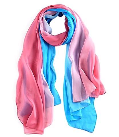 Honeystore 2016 Neuheit Fashion 100% Seide Farbverläufen Schal für Damen, 180*110 CM Blau und Rosa