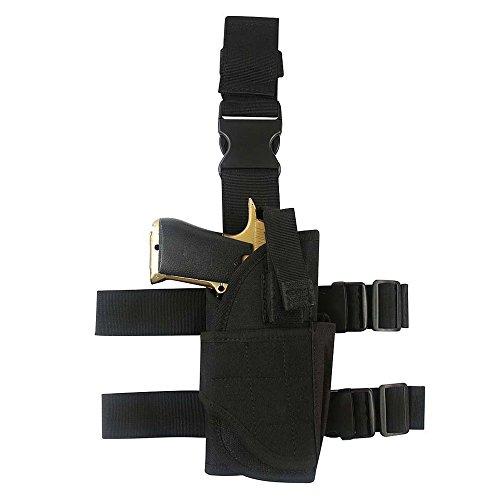 YooGer Leg Holster, Taktische Pistole Oberschenkel Tasche Einstellbare Military Airsoft Gun Halter Multifunktionale Ersatzbeutel (Schwarz)