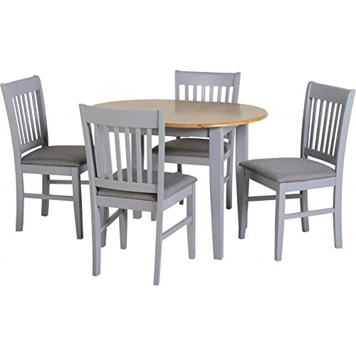 sec Oxford Extending Dining Set in Grey/Natural Oak/Grey Fabric