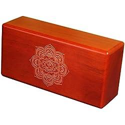 Ladrillo de Yoga de madera de haya sólida, superficie antideslizante, 23x11x7 cm (color rojo)