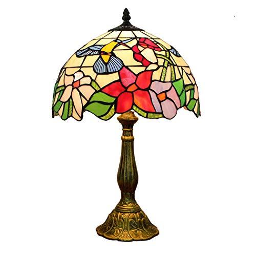 12-Zoll-Tiffany-Stil Tischlampe Vogel Glasmalerei Schatten antike Schreibtischlampe Wohnzimmer Schlafzimmer neben Cafe Decor Lampe, Online-On/Off-Schalter