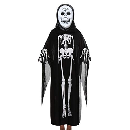 (Lazzboy Halloween Kostüm Kinder Cosplay Umhang schutzmaske Handschuhe Zombie Familie Kleidung Deko 2018(Schwarz-B,Eltern))