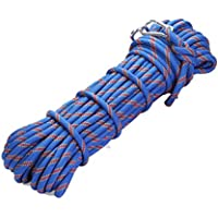 MODKOY Cuerda de Alpinismo, de 10 mm de diámetro Exterior Senderismo Accesorios de Alta Resistencia Auxiliar Cuerda Cuerda de Seguridad con 2 Ganchos
