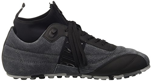 Bikkembergs Soccer 772 Low Shoe M Leather/Lycra, Pompes à plateforme plate homme Noir - Nero (Grey/Black)