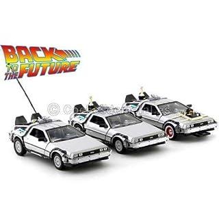 Welly Sammelauto namens DeLorean, bekannt aus der Trilogie Zurück in die Zukunft (Back to the Future Part), 3er Set