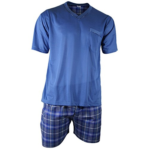 Herren Schlafanzug Shorty T-Shirt uni Hose im Karolook kurz 2-tlg in 5 Farben - Qualität von Lavazio®, Größe:3XL, Farbe:blau