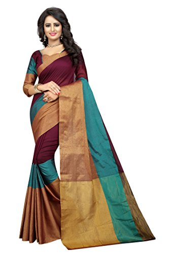 Perfectblue Women\'s cotton Silk Saree With Blouse Piece (majenta)