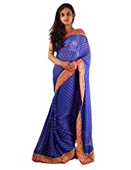 Blue Indian Party Wear Saree Embroidery Stone Work Fancy Georgette Sari