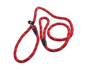 Boucle Réglable en nylon pour chien Pet antidérapant Dressage Laisse lasso en collier et laisse pour chien Rouge 1,2m