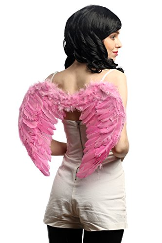 DRESS ME UP - RH-027-pink Halloween Karneval Cosplay Flügel Federflügel Pink Rosa Engel Drag Queen CSD Gothic Fee (Rosa Fee Und Kostüm Schwarze)