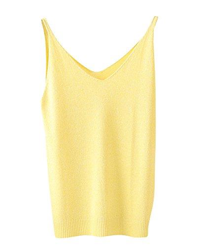 Donna V-Collo Tinta Unita Sottile Fionda Maglieria Gilet Bottoming Camicia Top Giallo Scuro