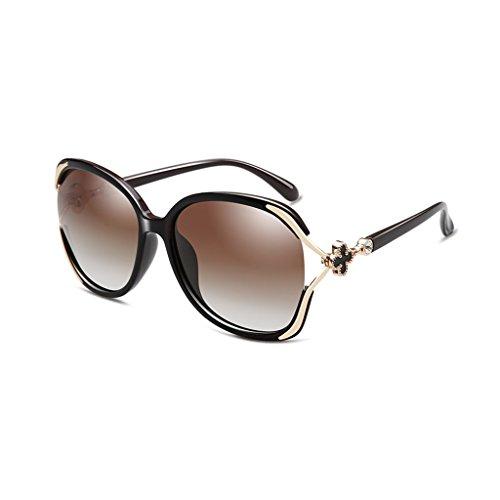 LIZHIQIANG Polarisierte Sonnenbrille, Frauen Blinkt, Frauen Rundgesicht, Langes Gesicht, Quadratisches Gesicht, Brille (Farbe : Dark Tea Box)