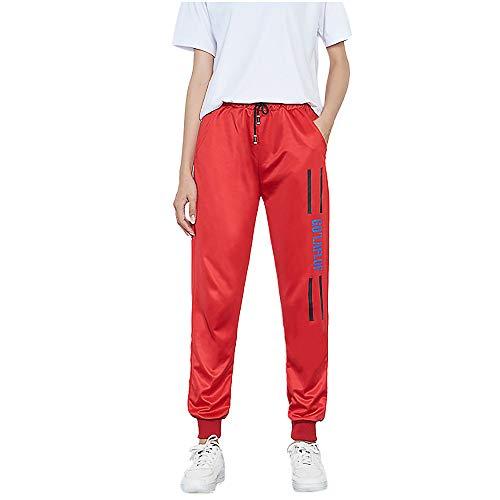 YWLINK Damen Mittlere Taille LäSsiger Gestreifter Druck Beam Fuß Freizeithosen Sporthosen Haremshose Jogger Hose(XL,Rot f)