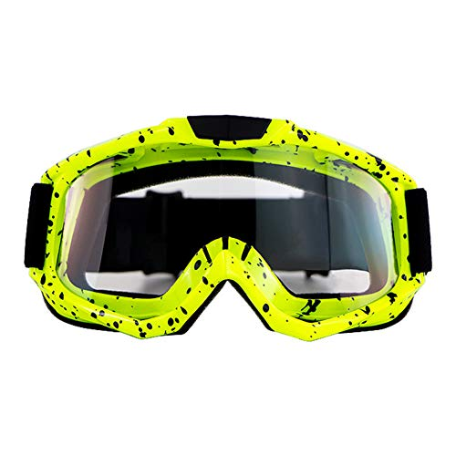 AKDSteel Motorbike Goggles Motocross Goggle Classes Cycling Gafas Off Road Racing Eyewear Ourdoor Sport Gaming Sunglasses Yellow Frame Transparent Lens AUTO