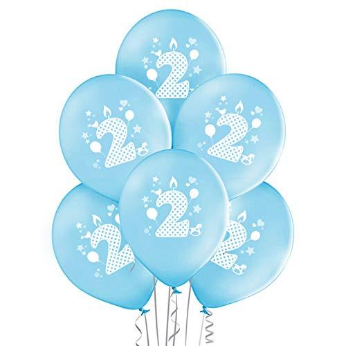 Ocballoons palloncini compleanno 2 anni kit addobbi e decorazioni per festa 20pz (azzurro)