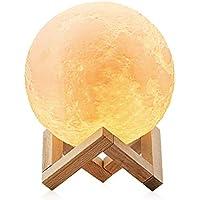 3D Led Lámpara de Luna - AUELEK Lámpara de Noche 15cm de 3 Colores Control Táctil Inteligente, Lámpara de Mesa Recargable de USB Decoración para Casa y Habitación, Perfecto Regalo de Cumpleaños, Año Nuevo y Aniversario ect.