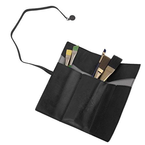 Pochette Rouleau de Stylo Sac Cosmétique Porte-brosse de Maquillage Rétro Noir