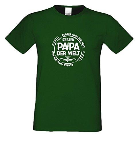 Herren-Männer-Vater-Sprüche-T-Shirt :-: Bester Papa der Welt :-: als Geburtstags-Weihnachts-Vatertags-Geschenk :-: auch Übergrößen 3XL 4XL 5XL :-: mit Urkunde :-: Farbe: dunkelgrün Dunkelgrün