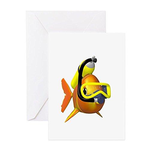 CafePress–Scuba Fisch–Grußkarte, Note Karte, Geburtstagskarte, innen blanko, glänzend