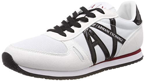 Armani Exchange Damen Microfiber lace up Sneaker Weiß (White+ Black 00001) 39 EU