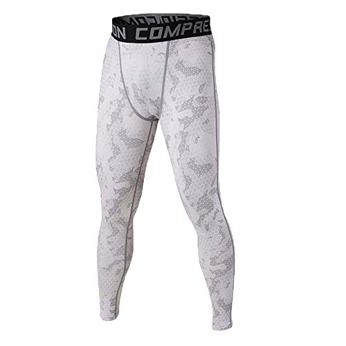 Rera Homme Pantalon Séchage Rapide Occasionnel Sport Legging de Compression Haute Elasticité Imprimé Couleur Camouflage Slim Dance Jogging Fitness Loose Crotch Pants Respira