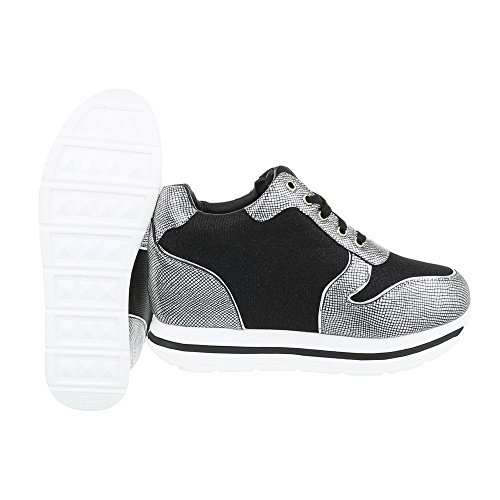 Ital-Design Low-Top Sneaker Damenschuhe Low-Top Keilabsatz/Wedge Sneakers Schnürsenkel Freizeitschuhe Schwarz Silber