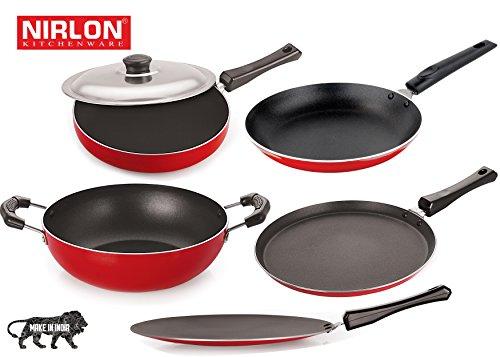 Nirlon Non-Stick Aluminium Cookware Set, 5-Pieces, Red (26FT12CTFP12KD13TP_2)