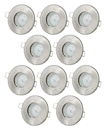 10er Set Einbaustrahler IP65 Edelstahl gebürstet Bad Dusche GU10 5Watt LED Leuchtmittel 3000Kelvin warm-weiß 430Lumen Leuchtmittel austauschbar Einbauleuchten Rostfrei