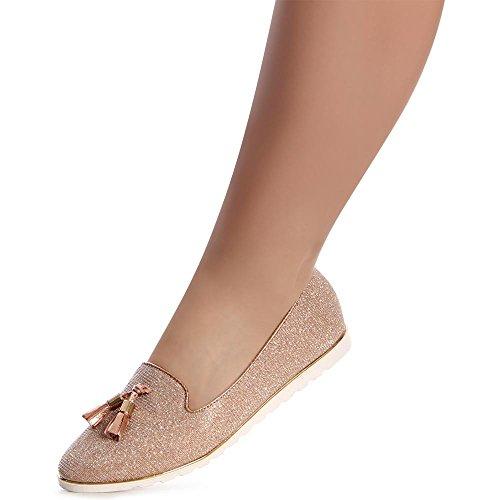 20a65d523910 topschuhe24 1120 Damen Slipper Loafer Ballerina Glitzer Rose Gold ...
