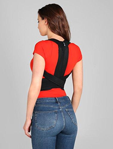 BeFit24 Rücken-Geradehalter zur Haltungskorrektur für Damen und Herren - Rückenstütze für Haltung - Schultergurt als Rückenstabilisator - Rückengurt als Haltungstrainer - Made in EU - Size 2 - Schwarz