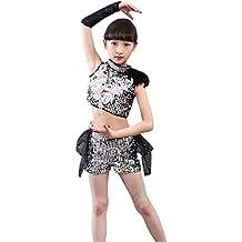XFentech Niños & Niñas Moda Sin Mangas Jazz Baile Disfraces Lentejuelas Disfraces de Escenario Desgaste de baile Moderno