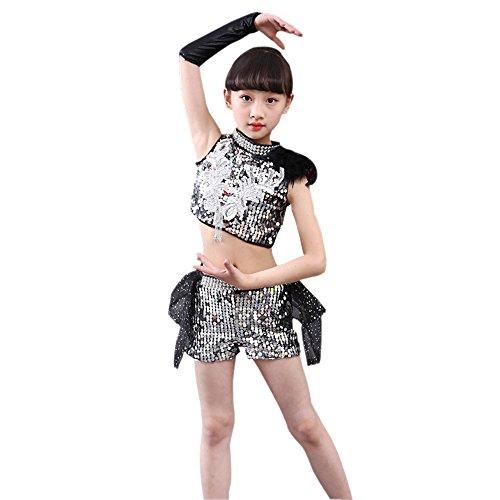 Tanz Jazz Kostüm Für Modern - XFentech Jungen & Mädchen Ärmellos Pailletten Tanzen Kostüme Kinder Mode Jazz Modern Auftritte Bühne Kleidung , Grau(Mädchen) , EU130=Tag140(140cm-Geeignete Höhe)