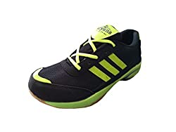 Port Unisex Black Pu Aryans Badminton Sports Shoe(8 UK/IND)