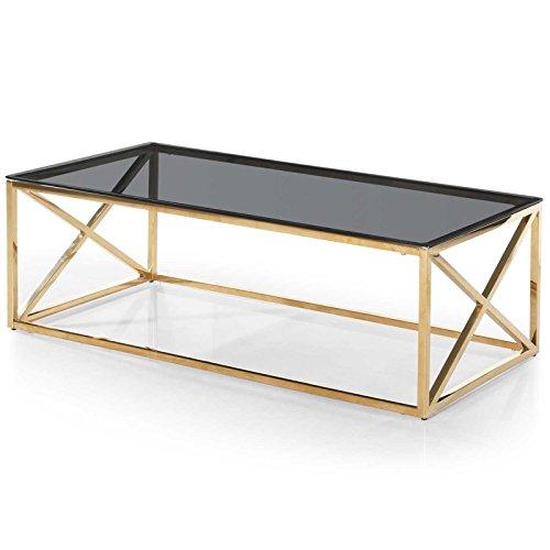 Paris Prix - Table Basse Verre Design Gladis 120cm Or & Noir
