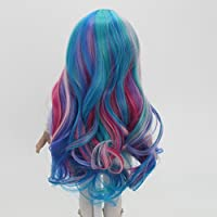 Perfeclan 18 Inch American Dolls Wig DIY Customizing Hair - Roman Curly Style Hairpiece, Anime Girl Cosplay, Gradient Colorful, High-temperature Wire
