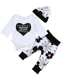 ropa bebe nino recien nacido otoño Switchali Impresión blusa bebe niña manga larga Camisetas Bebé Conjuntos moda mono romper jumpsuit + Pantalones + Sombrero (3 piezas)