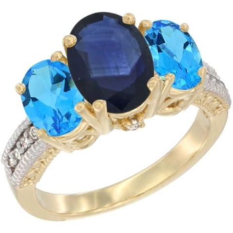 Revoni–Orecchini, in oro giallo 9kt, pietre e diamante 3pietra anello, ovale blu zaffiro e topazio blu misura