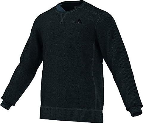 Adidas Men's Essentials 3-Stripes Crew French Terry Sweatshirt - Black Melange/Black, Small