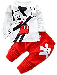 Bold N Elegant Attractive White n Red Mickey Mouse Cute Cartoon Tshirt  Pyjama Set Little Baby Boy Girl Clothing Two… 5fd1de8b6520